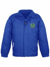Coalway school royal blue shower proof jacket with fleece lining and embroidered logo.